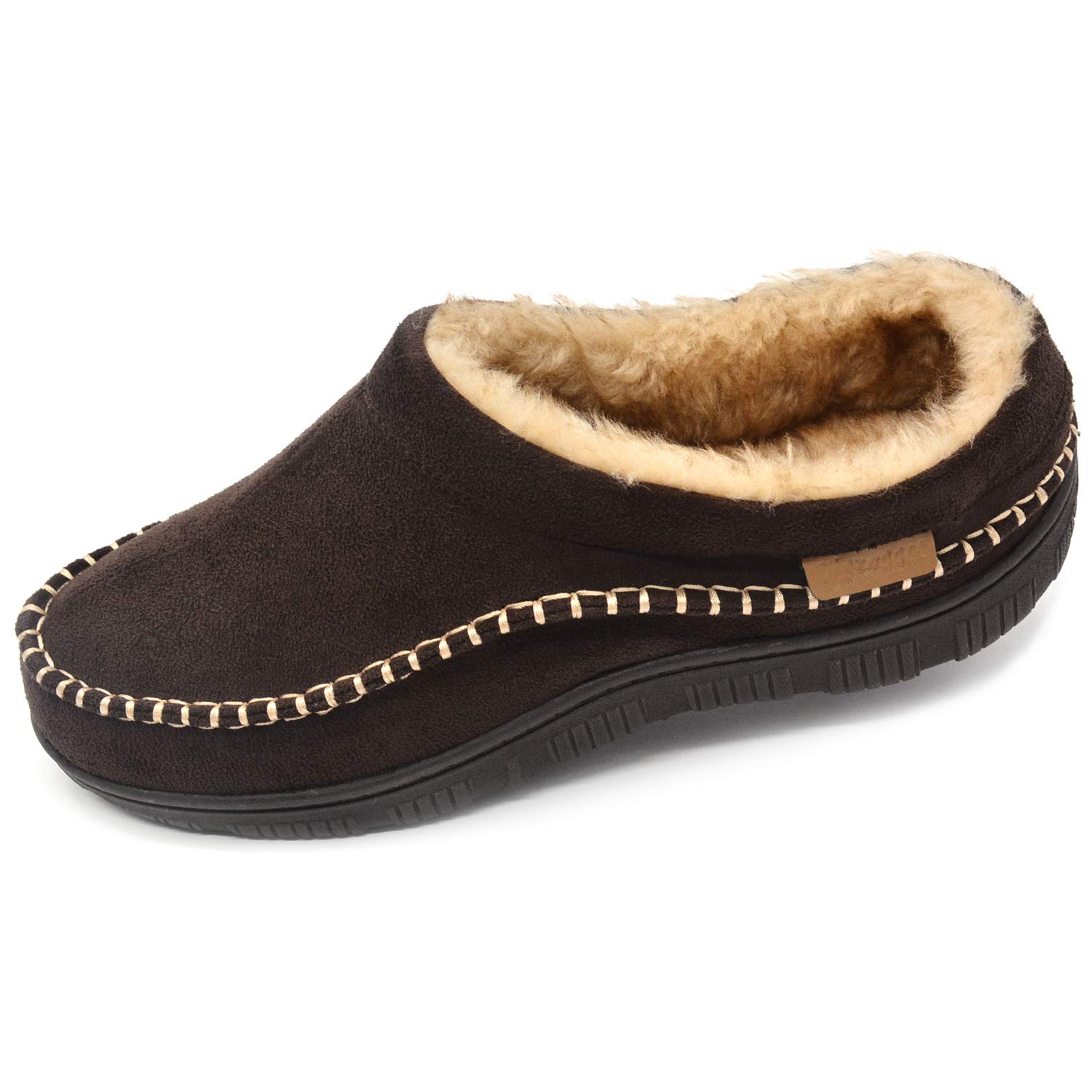 Zigzagger Men's Microsuede Moccasin Slippers, Versatile Indoor-Outdoor House Shoes