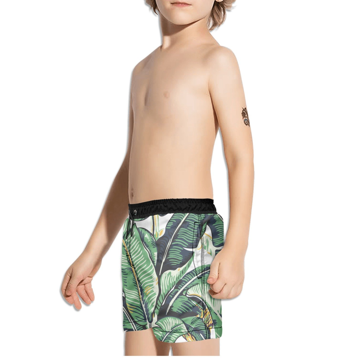FullBo Banana Leaves Little Boys Short Swim Trunks Quick Dry Beach Shorts