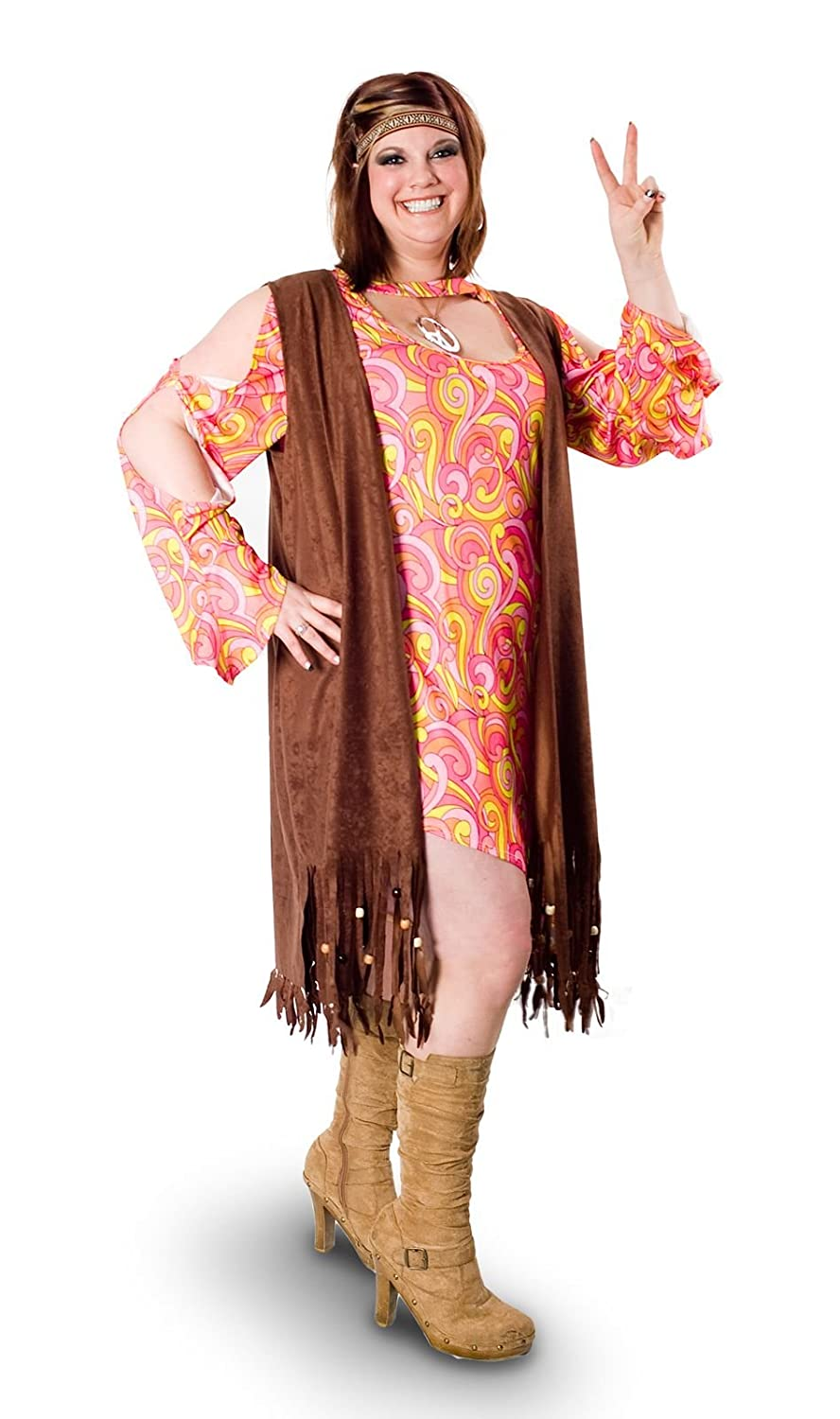 Hippie Dress | Long, Boho, Vintage, 70s Sunnywood Womens Plus-Size Lava Diva Funky Swirl Hippie Costume $42.58 AT vintagedancer.com