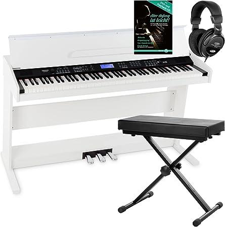 Piano digital FunKey DP-88 blanco set con auriculares, banco y manual