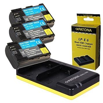 Dual Cargador PATONA + 3x Bateria para Canon LP-E6 EOS 70D ...