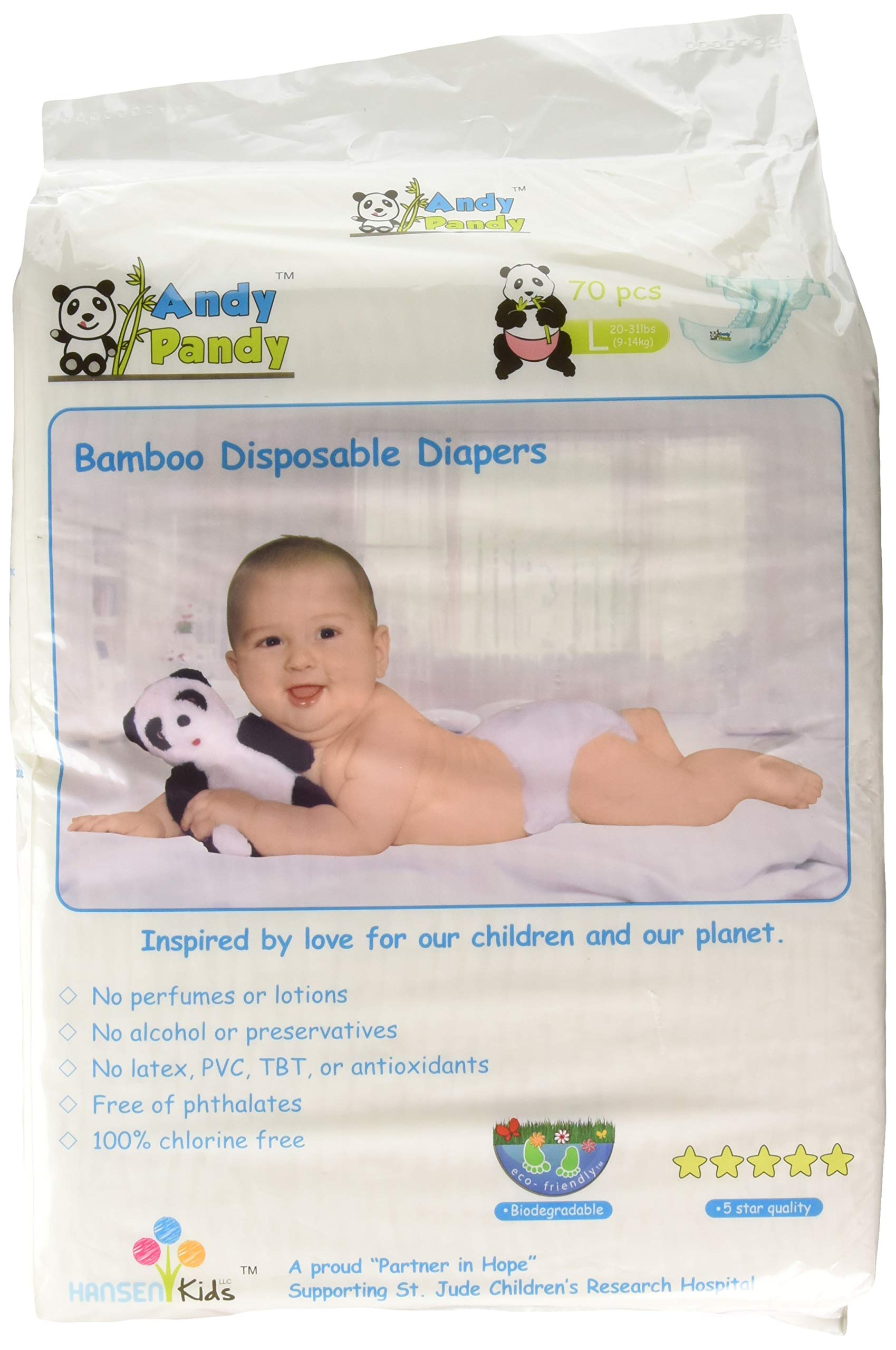 Eco Friendly Premium Bamboo Disposable Diapers by Andy Pandy - Large - for Babies Weighing 20-31 lbs - 70 Count by Andy Pandy