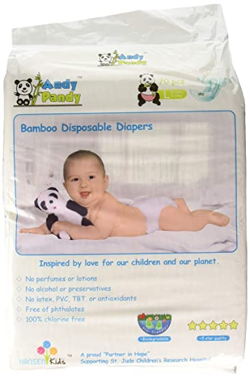 Eco Friendly Premium Bamboo Disposable Diapers by Andy Pandy - Large - For  Babies Weighing 20 0d7a8e18430