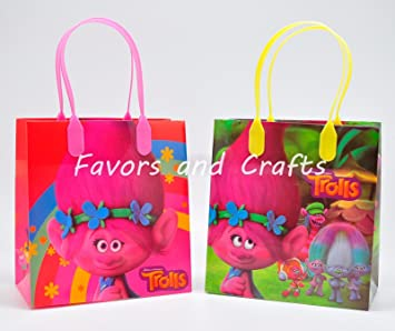 Amazon dream works trolls 12 pcs goodie bags party favor bags dream works trolls 12 pcs goodie bags party favor bags gift bags birthday bags by dream negle Image collections