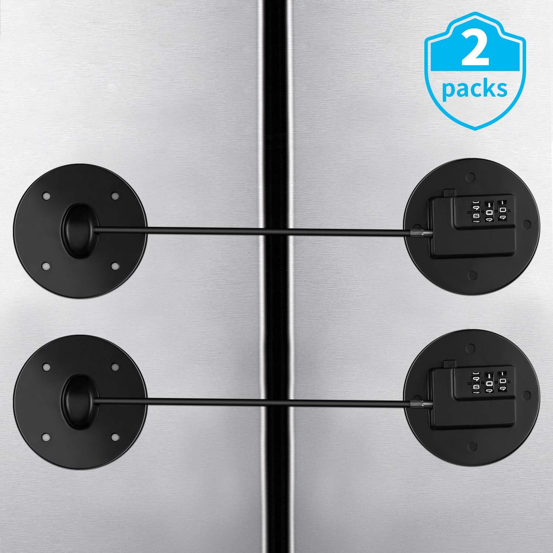 2 Pack Refrigerator Lock Refrigerator Child Lock Freezer Door Lock Strong Adhesive Coded Lock Fridge Safety Lock Children File Drawer Cupboard Lock