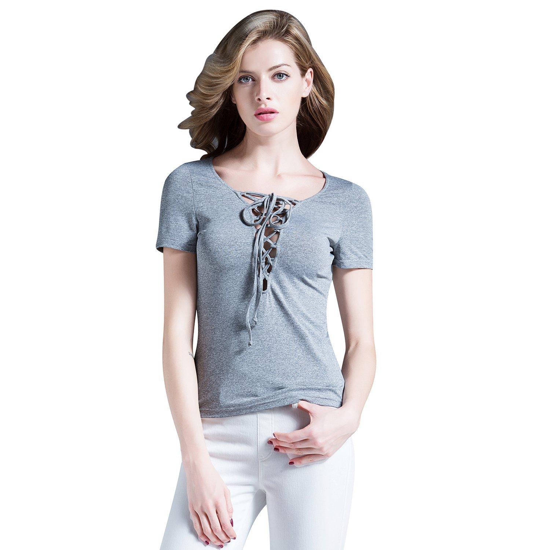 SUNNOW® Modisch Damen T-Shirt Kurzarm V-Ausschnitt Schnur Kreuz Einfarbig Frauen Bluse Tops Sommer