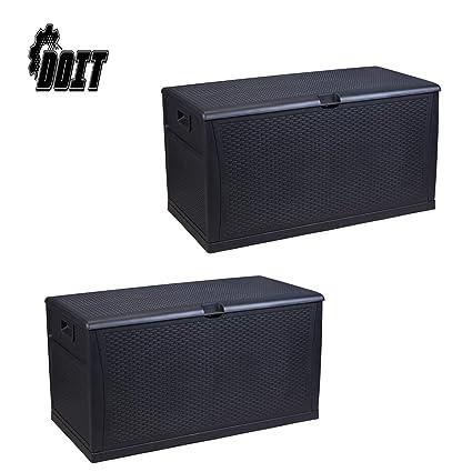 Fantastic Amazon Com Doit 120 Gallon Outdoor Patio Deck Box Plastic Frankydiablos Diy Chair Ideas Frankydiabloscom