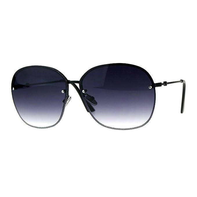 62bcc2998b5 Womens Rimless Designer Butterfly Metal Oversize Fashion Sunglasses Black  Smoke