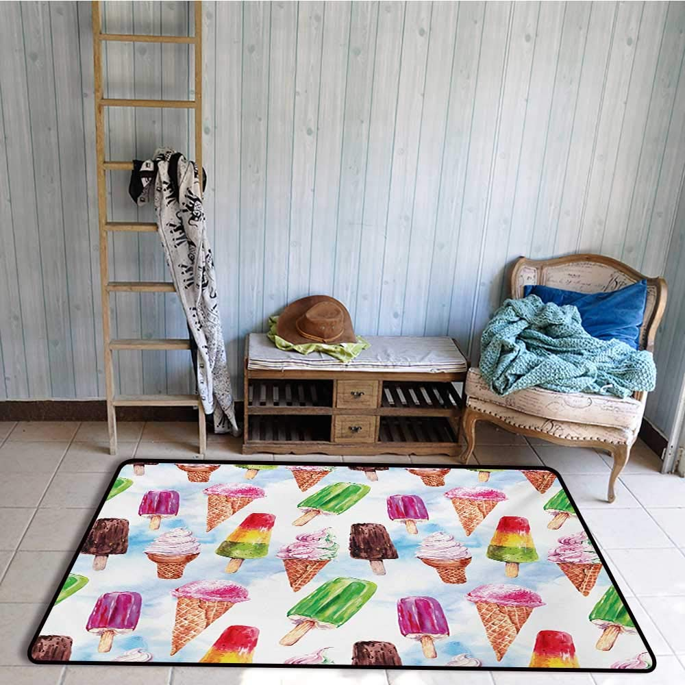 Non-Slip Floor mat,Surreal Exotic Type Ice Cream Motif with Raspberry Kiwi Flavor Colorful Display 4'x6',Can be Used for Floor Decoration by BarronTextile (Image #2)