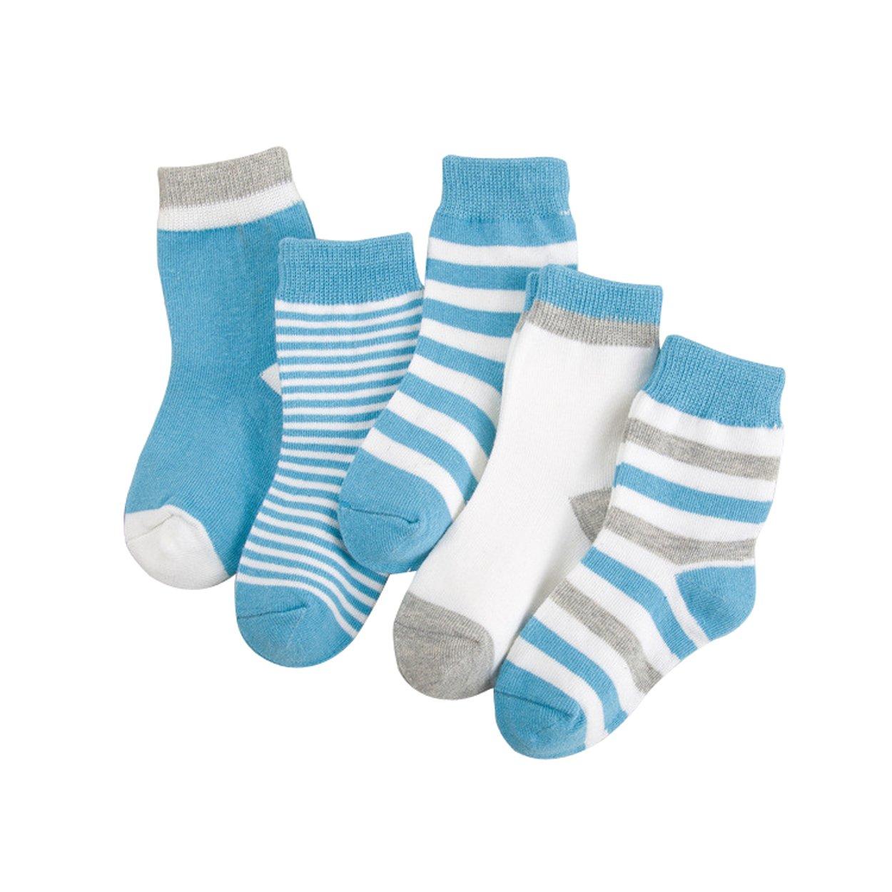 RVESCHZ Boys Socks Cotton Kids Basic Stripe Crew Socks 5 Pair Pack