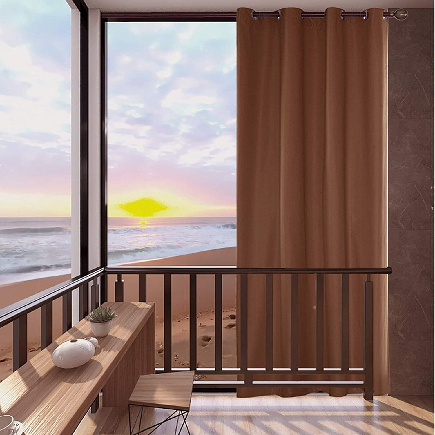 """Mingfuxin Outdoor Curtains, 1 Panels Garden Patio Gazebo Sunscreen Blackout Curtains, Waterproof & Thermal Insulated Curtains with Grommet for Porch Cabana Dock 54"""" x 84""""   1 Panel Coffee"""