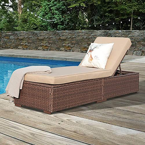 Super Patio Outdoor Chaise Lounge Chair, PE Wicker Rattan Adjustable Pool Lounge Chair, Steel Frame with Removable Cushions, Beige