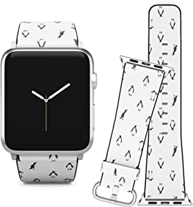 Compatible with Apple Watch iWatch (38/40 mm) Series 5, 4, 3, 2, 1 // Soft Leather Replacement Bracelet Strap Wristband + Adapters // Penguins Black White