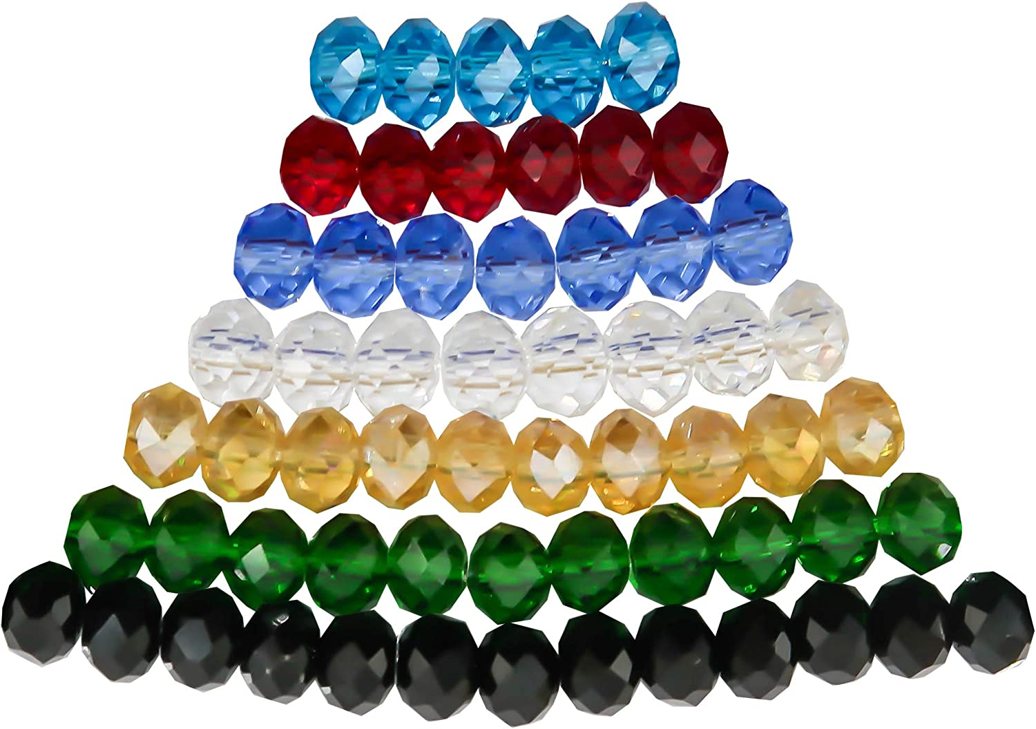 TOAOB 560pcs Mixed Colors 6mm Crystal Glass Faceted Beads for Jewellery Making