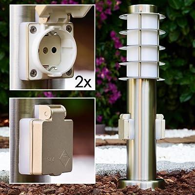 """'Lampe Socket lampe série """"Tunes avec deux prises Socket en acier inoxydable avec fiche Schuko Convient comme lampe de jardin"""
