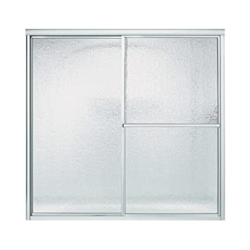 sterling 590659s deluxe bypass bath door silver with rain texture glass