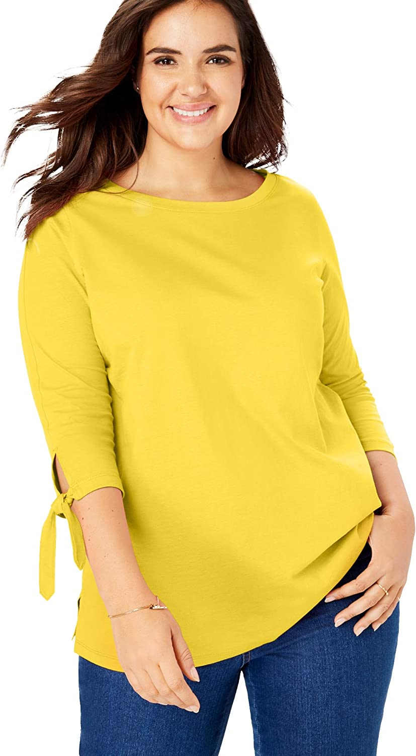 Woman Within Women's Plus Size Perfect Three-Quarter Tie-Sleeve Tee Shirt