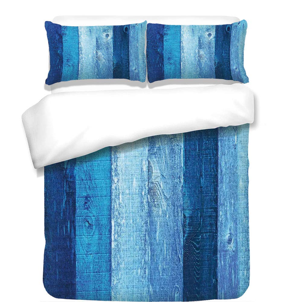 3Pcs Duvet Cover Set,Navy Blue Decor,Distressed Vintage Graphic of Wood in Robins Egg Old Grunge Grain Texture Retro Home,Dark Blue,Best Bedding Gifts for Family/Friends