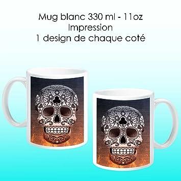 Mort Tete Onozo Avec Mug De Design FeuHigh Tech Blanc Fond EHID2W9