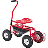 Outsunny Rolling Garden Cart with Bucket Basket - Red