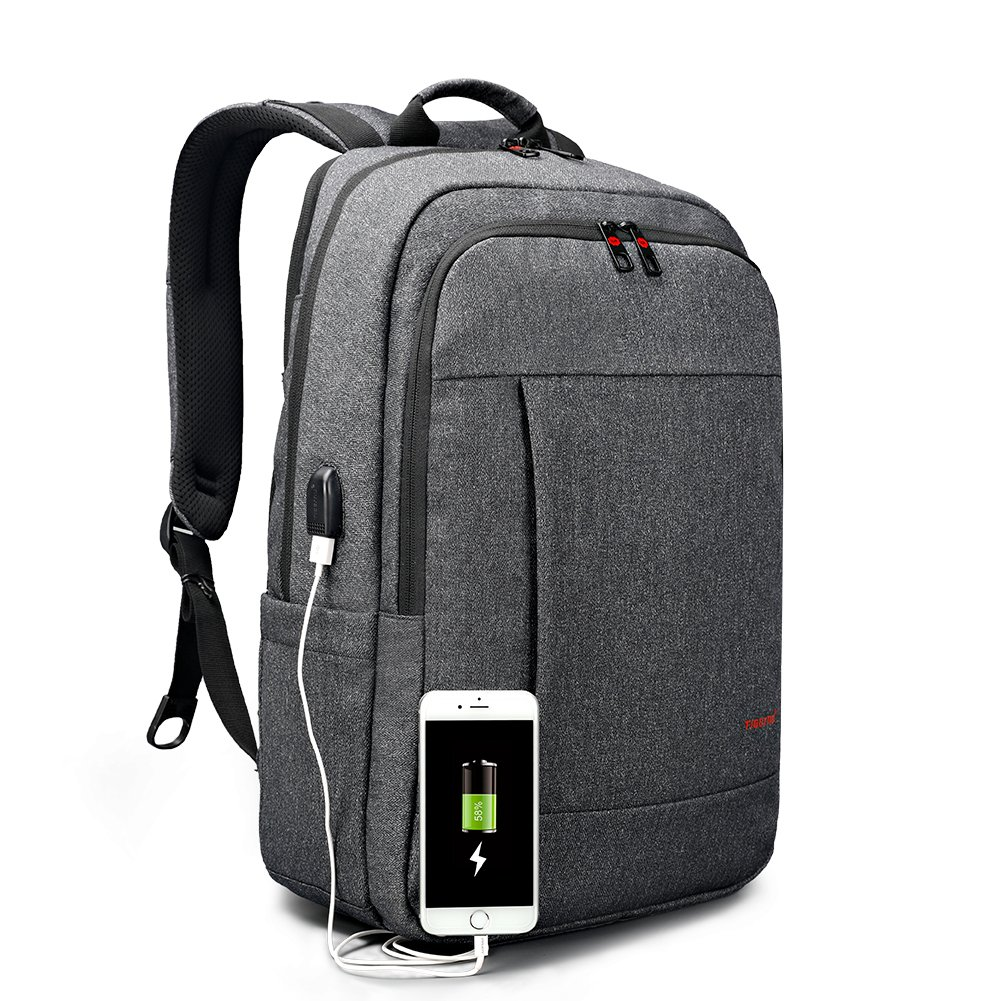 Tigernu Business Waterproof Laptop Backpack with USB Charging Port, Computer Rucksack Anti-Theft Water Resistant Travel Lap-top Bag, School Notebook Knapsack Fits for 15 15.6 inch black gray (black)