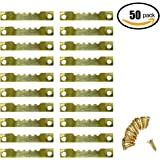 Sawtooth Hangers Picture Frame Hanging 1.5'' Hanger Double Hole with #4 Screws Golden (50 PACK)