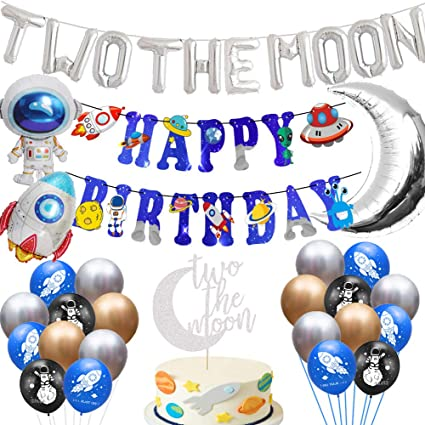 Outer Space Planets High Chair Banner Astronaut Rocket 2nd Birthday Boy High Chair TWO the Moon Banner Party Decor PRINTABLE Digital 0357