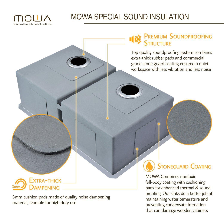 Mowa Hud33de Pro Series R10 Tight Radius Handmade 33 16 Gauge Kitchen Gt Plumbing Systems Diagram Stainless Steel Undermount 50 Equal Double Bowl Modern Sink