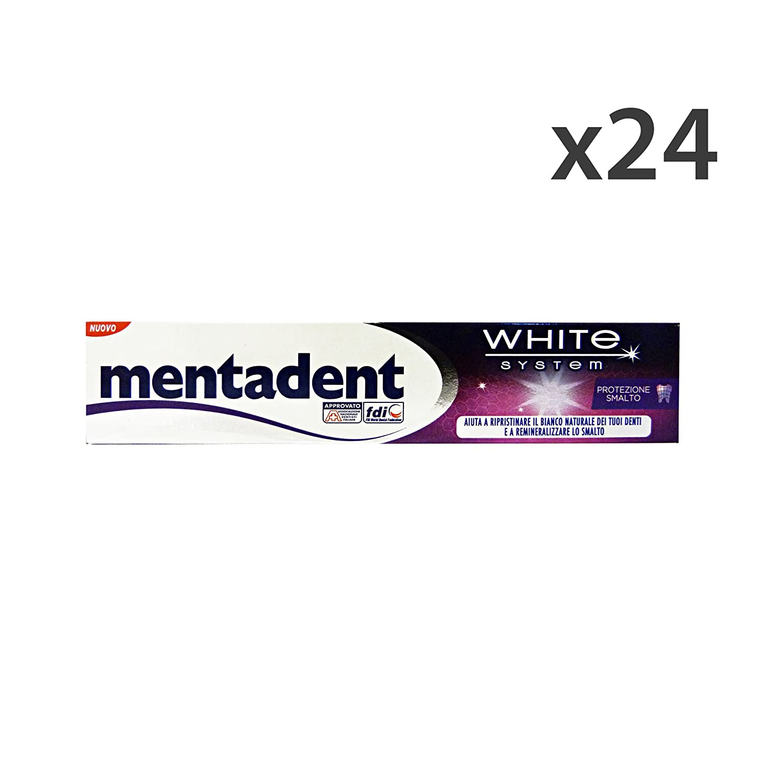 Set 24 MentaDENT Dentifricio WHITE S.Protezione Smalto 75 Ml. Hautpflege