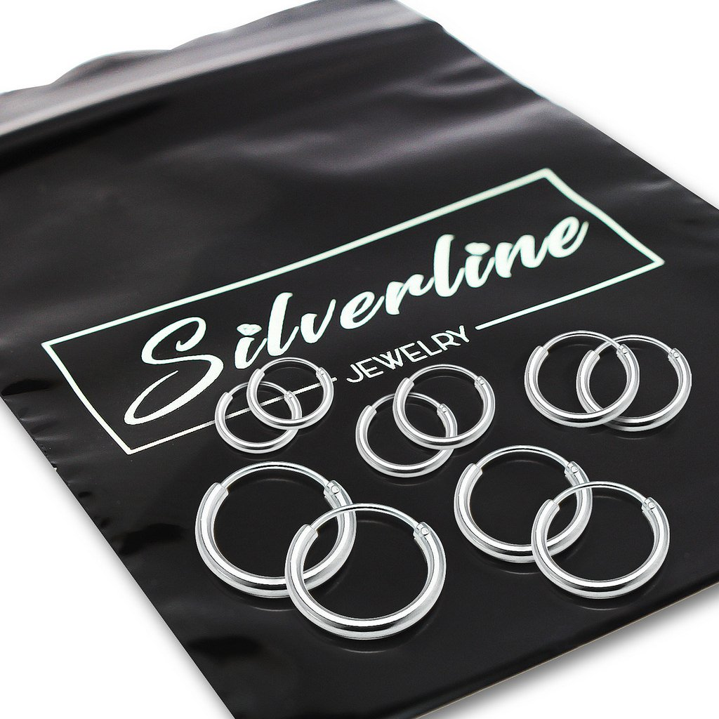 Sterling Silver Endless Hoop Earrings Set Of Five 1.2mm x 8, 10, 12, 14, 16mm Thin Round Unisex by Silverline Jewelry (Image #3)