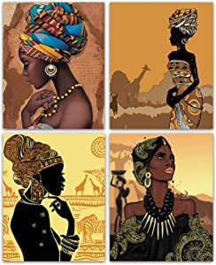 Retro Style Abstract Ethnic Ancient Tribal Wall Poster Art Painting Set of 4 (8