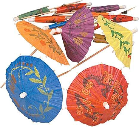 METALLIC   COCKTAIL UMBRELLAS  PACK OF 20 Assorted Colours