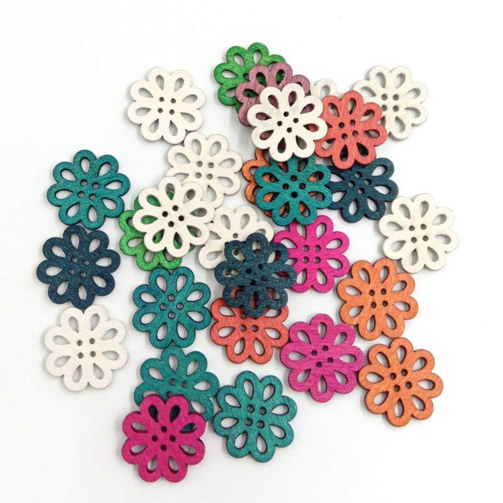 Color Mezclado Healifty Botones de Madera Daisy DIY Vintage Color de Madera Flor en Forma de Botones Craft Scrapbook Costura Ropa 100PCS