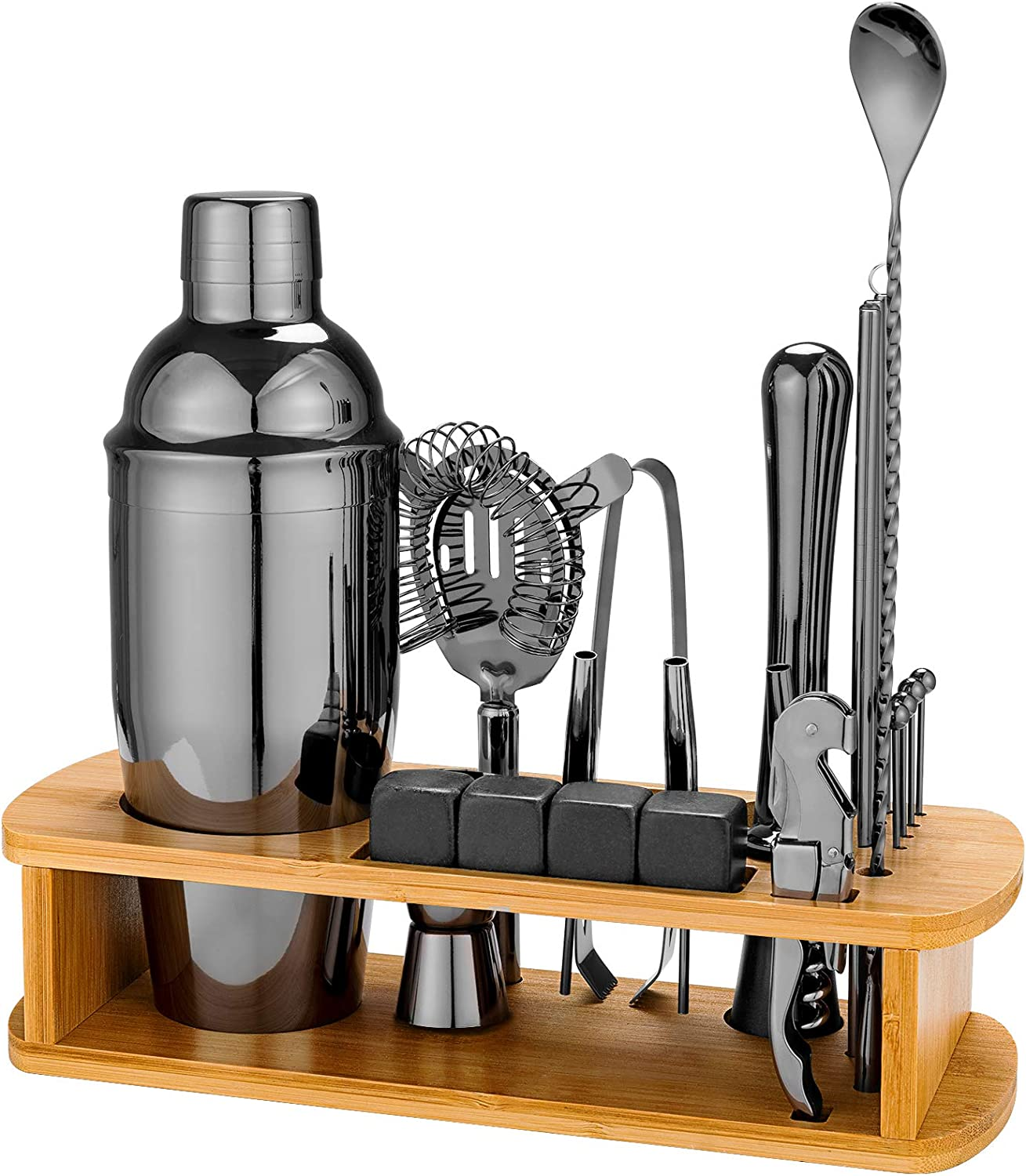 25 Piece Cocktail Shaker Set with Bamboo Stand,Stainless Steel Bartender Kit Bar Tools Set for Christmas Gift,Home, Bars, Parties and Traveling (Gun-Metal Black)