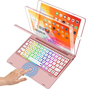Touchpad Keyboard Case for iPad 10.2 inch 8th 2020, iPad 7th 2019, iPad Air 3rd 10.5 inch 2019, iPad Pro 10.5 inch 2017, Smart Backlights, Touch iPad Keyboard with 130°Cover - Rose Gold