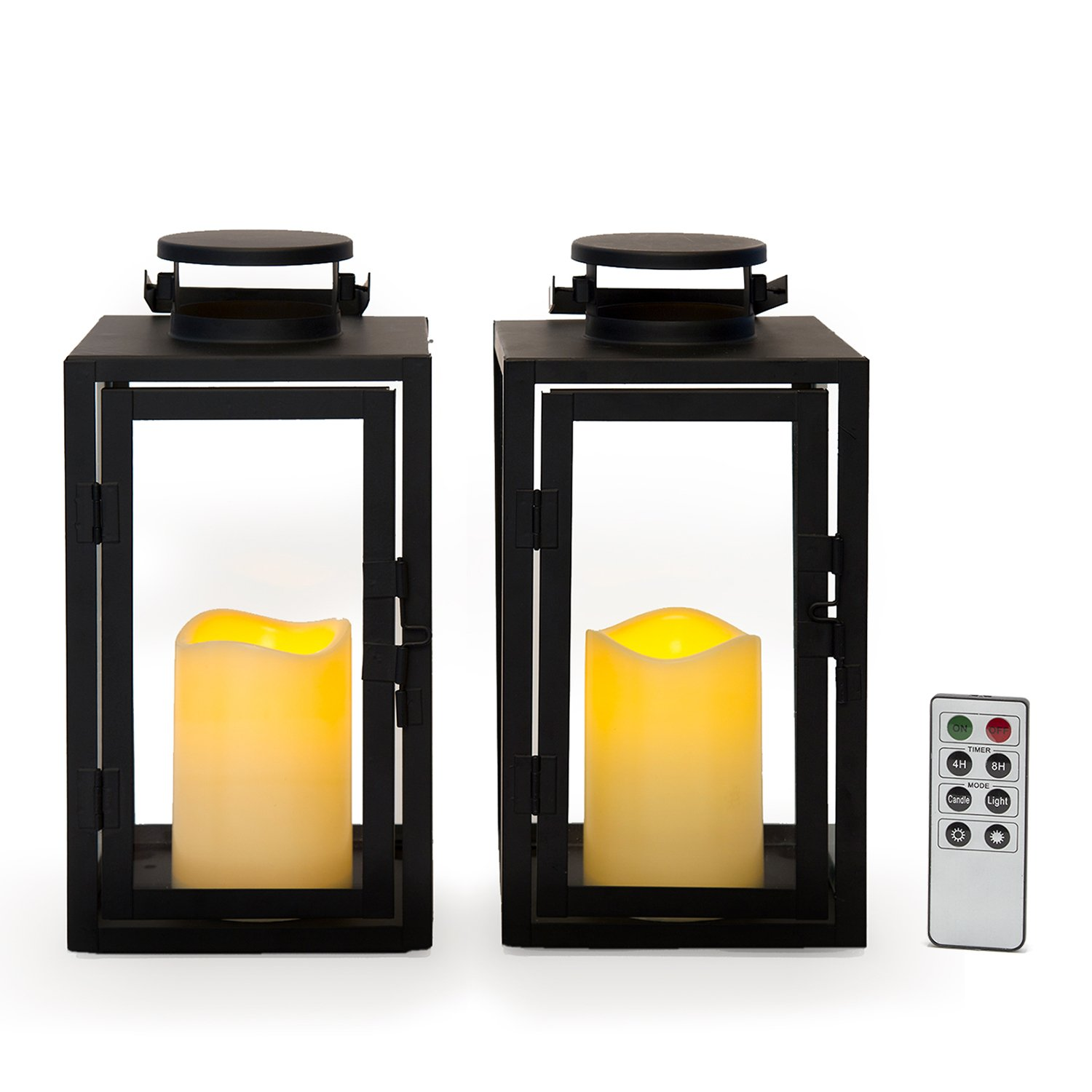 Metal Slat Design Set of 2 Flameless Black Candle Lanterns with Warm White LEDs Timer Option and Batteries Included