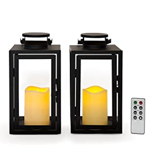 """Outdoor Flameless Black Candle Lanterns, Glass Paneled, 11"""" Height, Warm White LEDs, Remote & Batteries Included - Set of 2"""