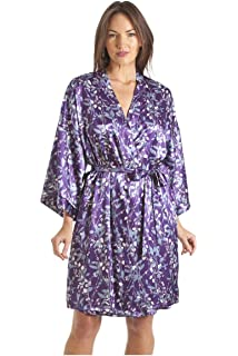 Camille Womens Ladies Luxury White and Blue Floral Print Purple Satin Wrap b4317093b