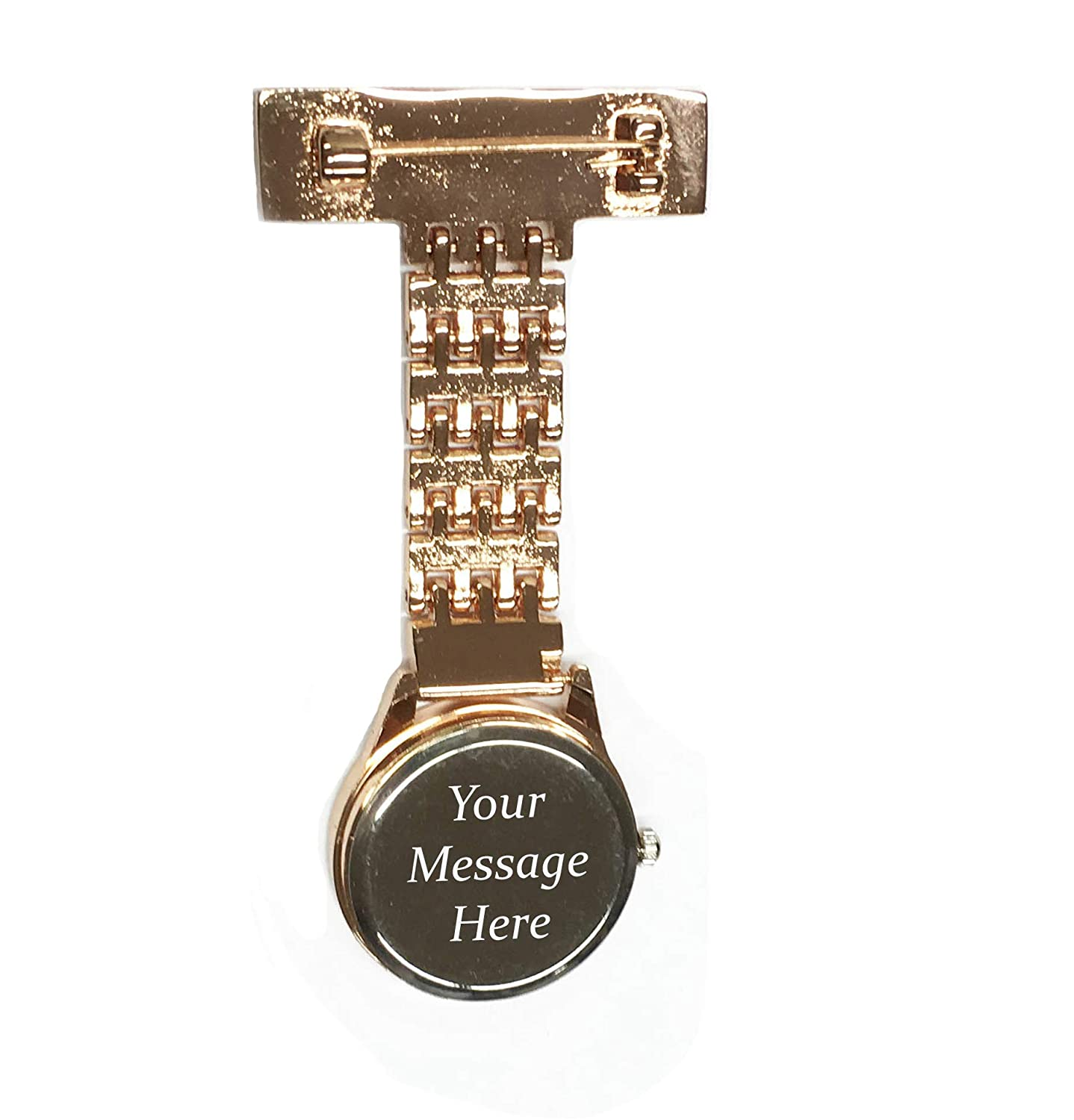 e7fa88550 Personalised Engraved Nurse Carer Fob Watches Brooch Custom Gift Box Gold  Silver Black Rose Gold (Back & Gift Tin Engraved, Rose Gold with Gift Tin):  ...