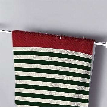 Bath Towel White Snowflake With Red Green Stripes Print Modern Hand Towel  Bathroom Shower Towels Wrap