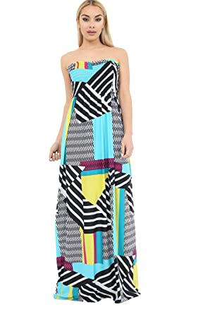 b9b559c68e8 Women s Print Floral Strapless Boobtube Fashion Long Sheering Maxi Dress  Top (Geometric Abstract Print