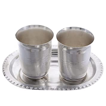 69dc52b2336f Buy Craft Trade German Silver Handmade Silver 2 Glass Set with Tray for  Kitchen Online at Low Prices in India - Amazon.in