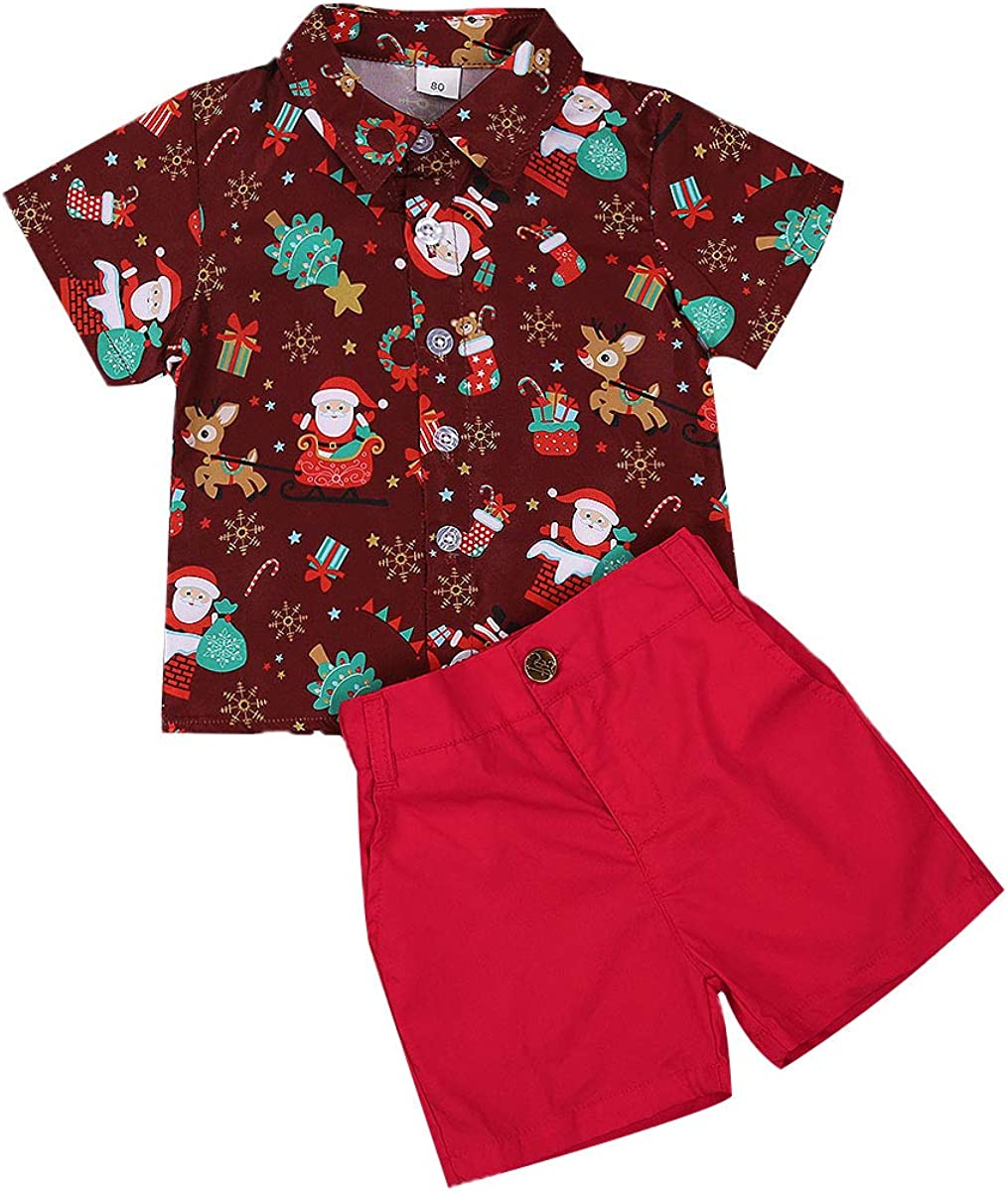 My First Christmas Ranking TOP16 Clothes Limited price Toddler Baby Santa Print Boy Short Sl
