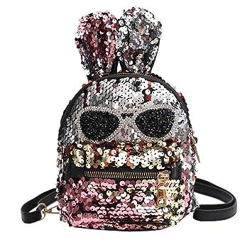 Mochila con lentejuelas para niñas, diseño de orejas de conejo con purpurina, ideal como regalo para niños Multicolor: Amazon.es: Hogar