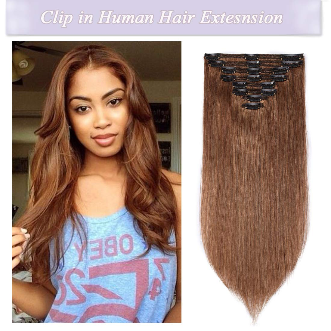 e759e1d5b59 s-noilite Clip in Human Hair Extensions 100% Real Remy Thick True Double  Weft Full Head 8 Pieces 18...