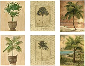 "Beach Palm Tree Vintage Posters - Set of Six 8"" x 10"" Wall Posters by Wallsthatspeak"