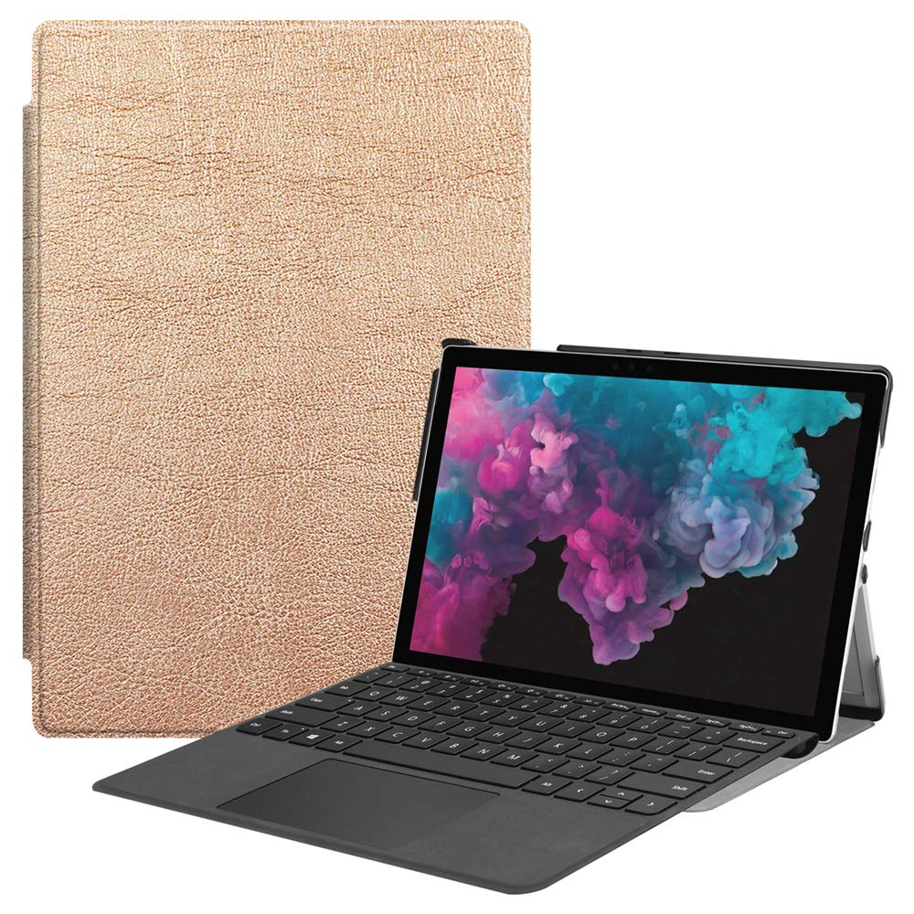Microsoft Surface Pro 4 5 6ケース 高級本革ケース スタンド付き フリップカバー ハンドメイド Microsoft Surface Pro 4 5 6用 ローズゴールド   B07LCH1YMQ