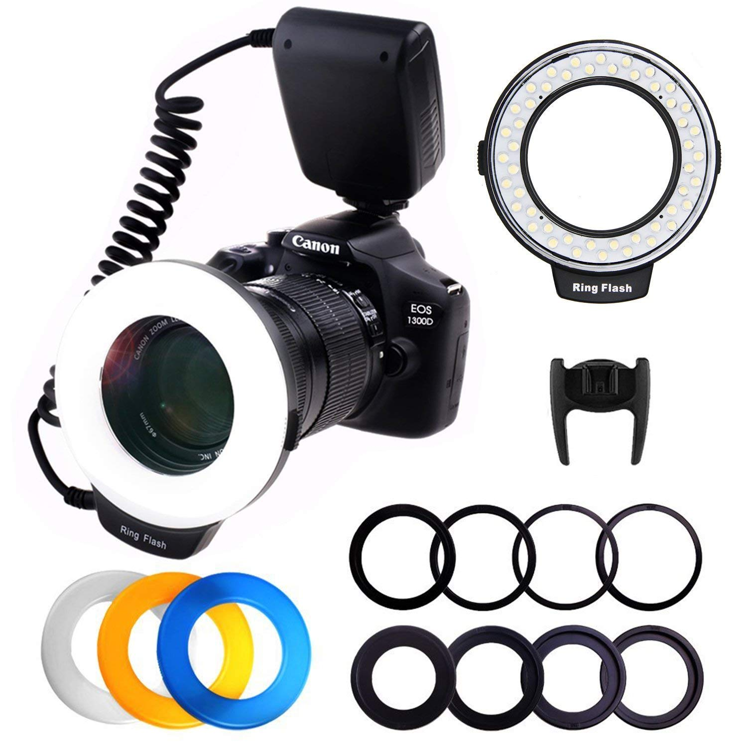 PLOTURE Flash Light with LCD Display Adapter Rings and Flash Diff-Users for Canon Nikon and Other DSLR Cameras by PLOTURE