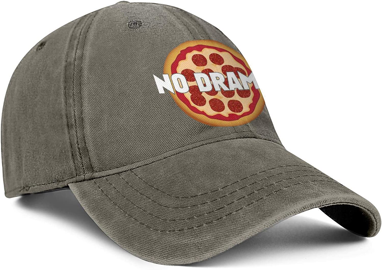 Pizza Letters No Drama Unisex Baseball Cap Outdoor Sun Caps Adjustable Trucker Caps Dad-Hat
