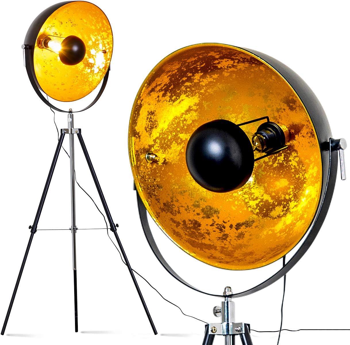 Stehlampe Saturn Vintage Stehleuchte Mit Lampenschirm In Gold